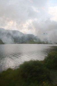 Loch Eil shrouded in steam from the engine