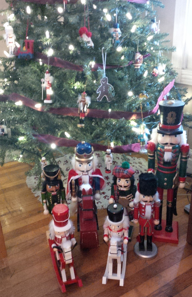 nutcrackers in front of tree (2013)