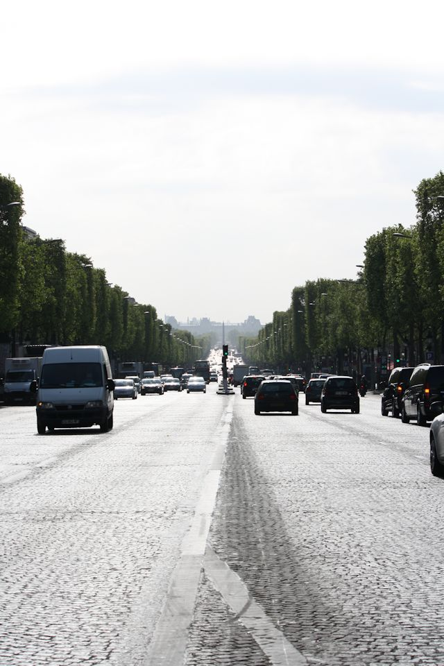 looking towards place de la concorde from a pedestrian island on the Champs-Élysées