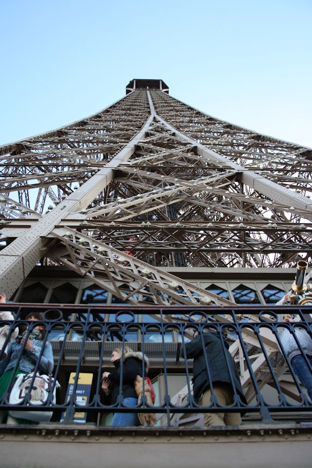 looking up the eiffel tower from the 2nd level