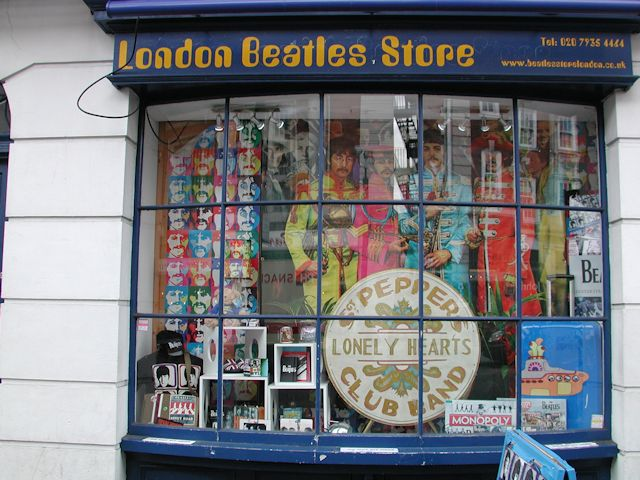 window in london beatles store on baker street